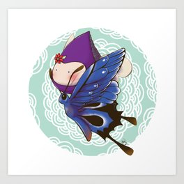 Poppette and butterfly Art Print