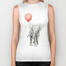 Baby Elephant Watercolor Red Balloon Nursery Decor Biker Tank