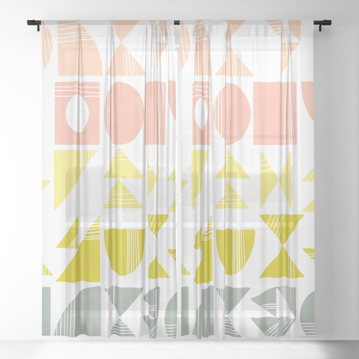Organic Abstract Shapes in Soft Pastel Colors Sheer Curtain