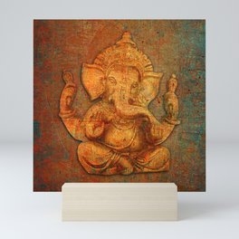 Lord Ganesh On a Distress Stone Background Mini Art Print