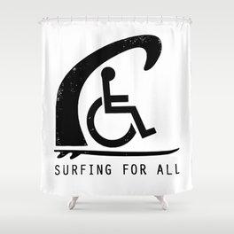 Baesic Surfing For All Shower Curtain