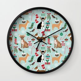 Chihuahua christmas best gifts for chihuahua owners dog pet portraits pet friendly Wall Clock