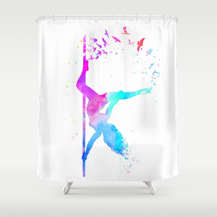 Watercolor Pole Dance Shower Curtain By Zhivechkova Art