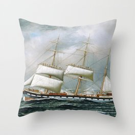 Vintage Sailboat Rolling up Sails Illustration (1904) Throw Pillow