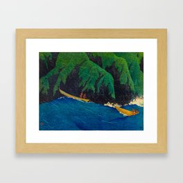Kawase Hasui Vintage Japanese Woodblock Print Beautiful Green Cliffs Raging Blue Waters With Fisherm Framed Art Print