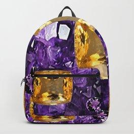 PURPLE AMETHYST & GOLDEN TOPAZ GEM CRYSTALS ART Backpack