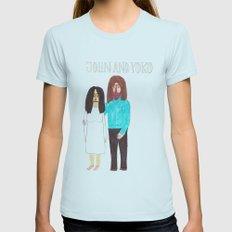 John & Yoko Womens Fitted Tee Light Blue LARGE
