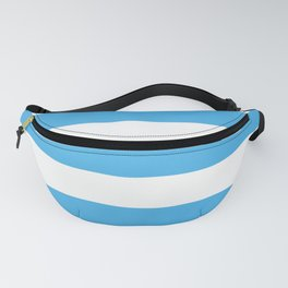 Picton blue - solid color - white stripes pattern Fanny Pack