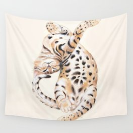 Cute Stretching Bengal Kitten Wall Tapestry