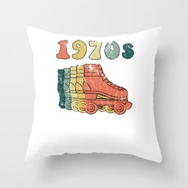 70s Roller Skates Derby Disco Retro Vintage Skating Throw Pillow