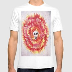 SKULL FLOWER MEDIUM White Mens Fitted Tee