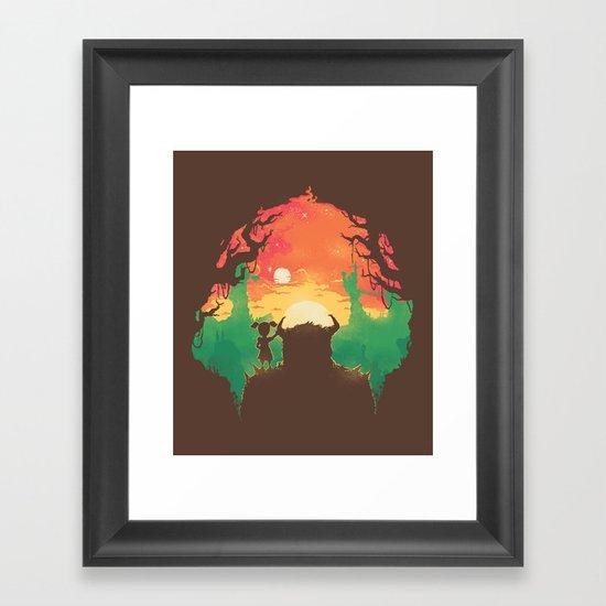 Sunset with a friend Framed Art Print