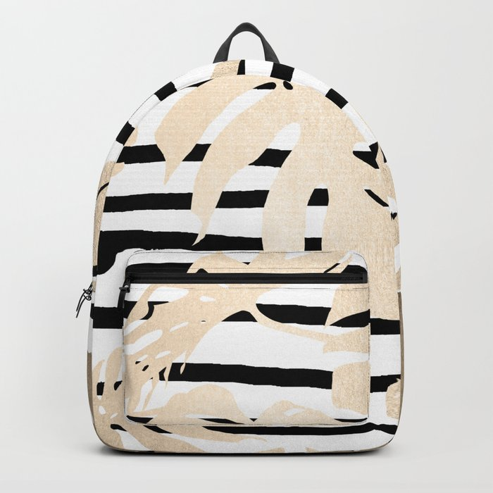Simply Tropical White Gold Sands Palm Leaves on Stripes Backpack