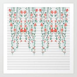 Red Floral Vines on Minimal Black and White Stripes Art Print