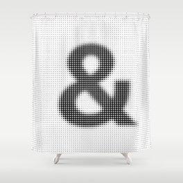 Halftone Ampersand Sans Serif Shower Curtain