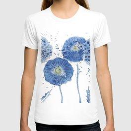 four blue dandelions watercolor T-shirt