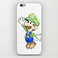 luigi iPhone & iPod Skins featuring Luigi Watercolor Art by Olechka