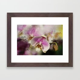 Pink Orchid Watercolor spatter Framed Art Print