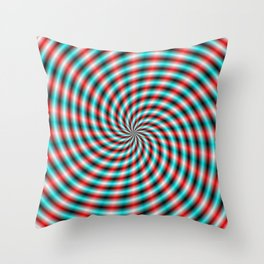 Turquoise and Red Spiral Rays Throw Pillow