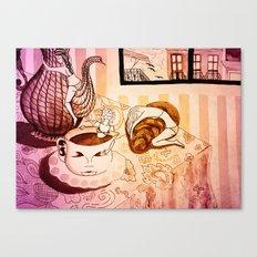 purple sleepy breakfast Canvas Print