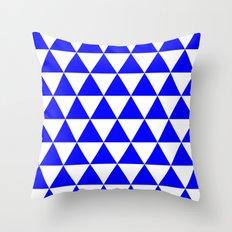 Triangles (Blue/White) Throw Pillow