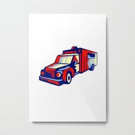 Ambulance Emergency Vehicle Retro Metal Print