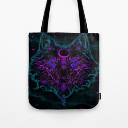 Mythical Neon Teal Wolf Tote Bag