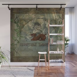 The dragons with vintage background Wall Mural