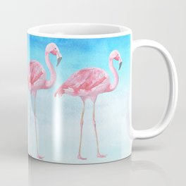 Flamingo Bird Summer Lagune - Watercolor Illustration Coffee Mug
