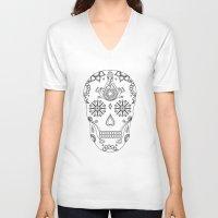 sugar skull V-neck T-shirts featuring Sugar skull by Anna Lindner