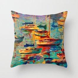 Morning Sailboats Throw Pillow