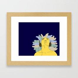 Washi Headphones Blue Framed Art Print