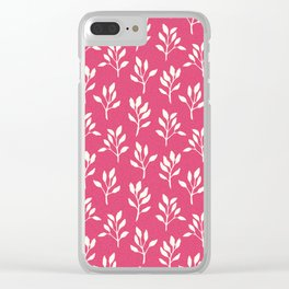 Modern neon pink ivory watercolor hand painted floral Clear iPhone Case