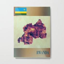 Rwanda Map with Flag Metal Print