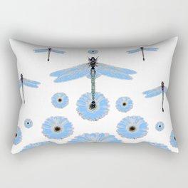 SURREAL WHITE-BLUE DRAGONFLIES FLOWERS ART Rectangular Pillow