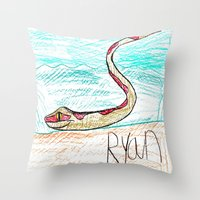 monty python Throw Pillows featuring The Python by Ryan van Gogh
