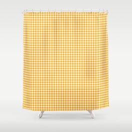 Saffron Yellow Gingham Check Shower Curtain