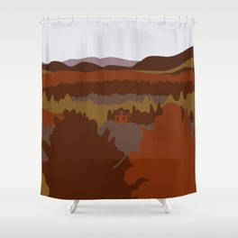 Graphic Fall Mountain Landscape with House (Orange) Shower Curtain