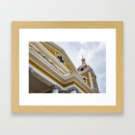 Looking up at the Exterior of the Yellow Granada Cathedral in Downtown Granada, Nicaragua Framed Art Print