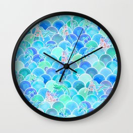 Bubbly Ocean in Aqua and Turquoise Wall Clock