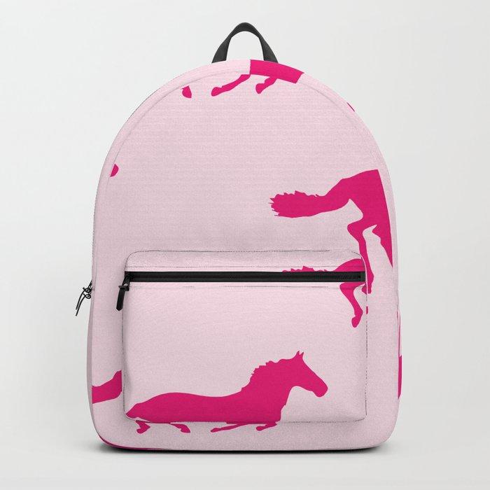 PINK GALLOPING HORSES Pop Art Backpack
