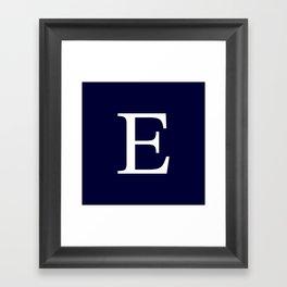 Navy Blue Basic Monogram E Framed Art Print