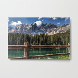 Carezza Lake Early Morning Landscape Painting by Jeanpaul Ferro Metal Print