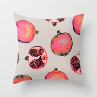 iggy pop Throw Pillows featuring Pomegranate Pattern by Georgiana Paraschiv