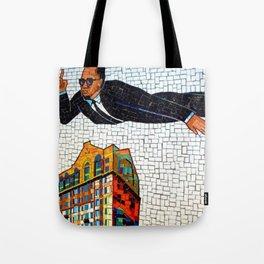 NYC Subway 125th Street Public Mural Black Heroes - Malcom X Photograph Tote Bag