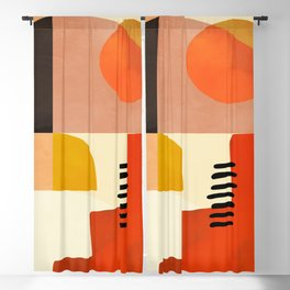 mid century shapes moon Blackout Curtain