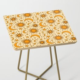 Vintage Sun and Star Print Side Table