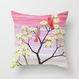cardinals and dogwood blossoms Throw Pillow