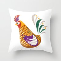 rooster Throw Pillows featuring Rooster by Jackie Sullivan