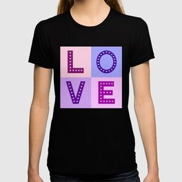 Love Hearts Love Type Pinks Purples T-shirt
